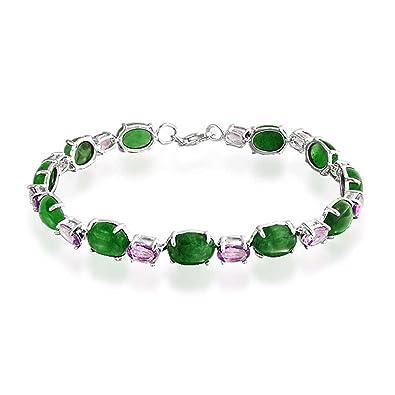 Bling Jewelry Améthyste ovale teint en vert jade Bracelet Argent 925 75in  Tennis 2efc241bfd2b