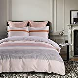 JUCFHY Duvet Cover Set King Stripe,Riverside Bedding Collection,Cotton Duvet Cover Matching 2 Pillow Shams,Ivory Pink Reversible 3 Pieces Cotton Duvet Cover Set,Luxury Quality Comfortable Easy Care
