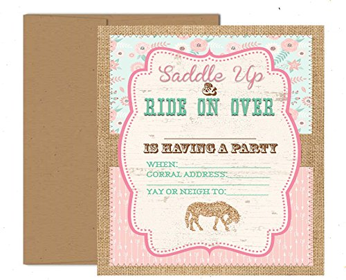 Pony Adoption Party Decorations Invitations and Supply Kit Horse (Invitations)