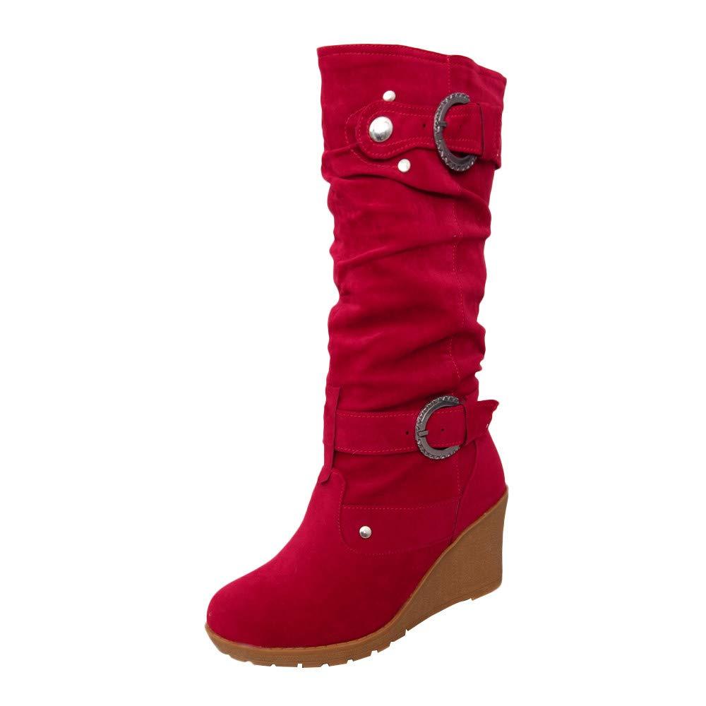 Robemon♚Façon Chaussures Femmes Compensées Hiver Chic Bottes Hautes Automne Hiver Givré Daim Strap Boutons Plats Boots Chaussures