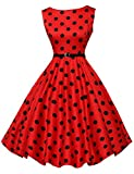 Women Vintage Dresses Cotton Black Polka Dots Rockabilly Party Dress (M, Red)