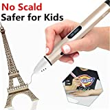 Image of Safer Temperature 3D Professional Printing Pen with OLED display, for Doodling, Art & Craft Making, 3D Modeling and Education, Come with 9 Meter 1.75mm PCL Filament & pen base (Silver)