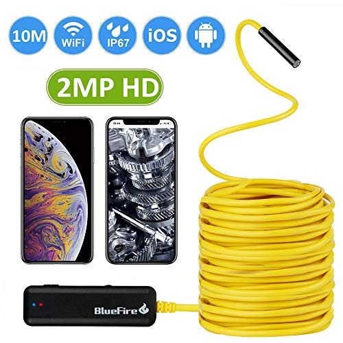 BlueFire Semi-Rigid Flexible Wireless Endoscope IP67 Waterproof WiFi Borescope 2 MP HD Resolutions Inspection Camera Snake Camera for Android and iOS Smartphone, iPhone, Samsung, iPad, Tablet (33FT) (Sewer Snake Camera)