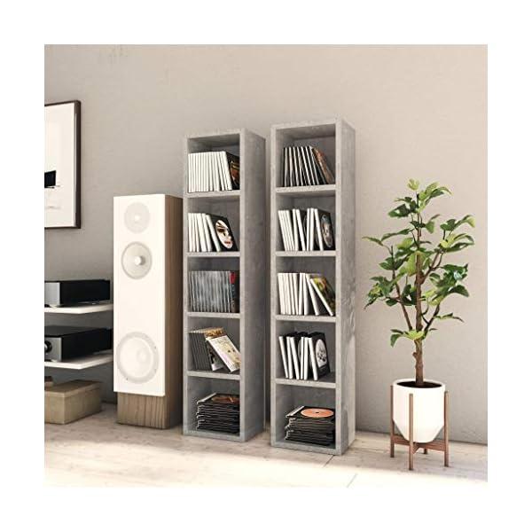 vidaXL 2X Armoires à CD Etagère à CD Meuble de Rangement avec 5 Compartiments Bureau Salon Maison Intérieur Gris Béton…