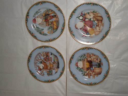 Sakura Woodland Ceramic Santa Salad/Dessert Plates, Set of 4