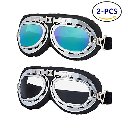 LJDJ Safety Motorcycle Goggles - Set of 2 - Dirt Bike ATV Motocross goggles Anti-UV Adjustable Riding Offroad Sports Goggles Pilot Aviator Goggles Scooter Harley Eyewear for Men Women kids - Riding For Motorcycle Glasses Prescription