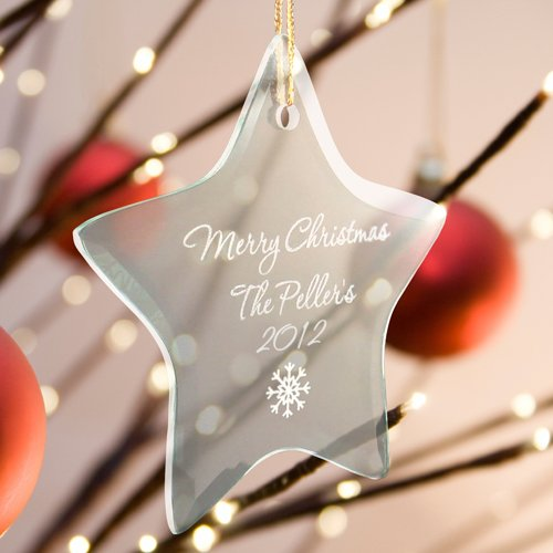 (Personalized Beveled Glass Ornament - Star Shaped - Snow Flake)