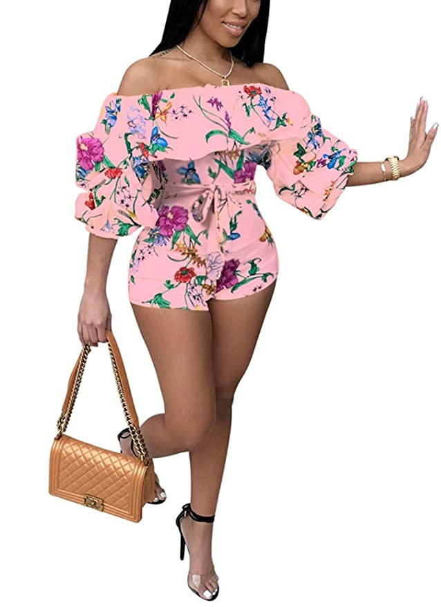ed9cb085489a Amazon.com  Deloreva Women Sexy One Piece Romper Outfits Pull Sleeve Floral  Print Off Shoulder Short Jumpsuit Pants Set  Clothing