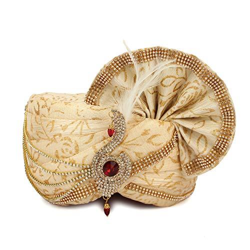 Aman Royal Dulha Collection Ethnic Printed Fabric Pagdi/Safa/Turban for Bridegroom Maharaji Safa for Men (Free Size) MKS243 Cream