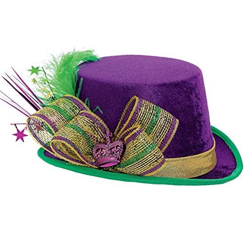 Amscan   Deluxe Mardi Gras Top Hat Party Supplies, Multi