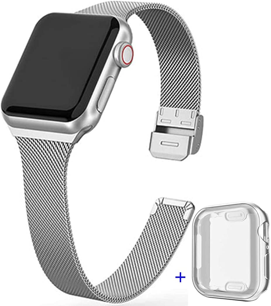 Compatible with Apple Watch 38mm 40mm 42mm 44mm Stainless Steel Mesh Loop With TPU Case,Adjustable Stainless Steel Mesh Wristband Sport Loop for iWatch Series 6/5/4/3, SE,Replacement Wristband,Metal Strap With Full Coverage Protection,Case with Loop