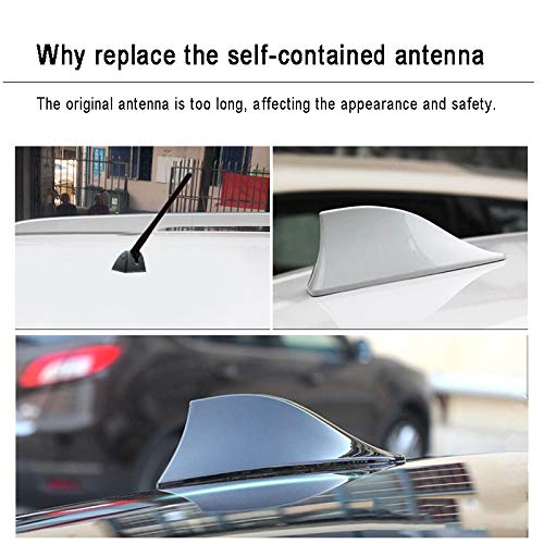 US Warehouse FOLCONROAD Car Auto Shark Fin Antenna Roof Aerial Base Radio Signal Silver