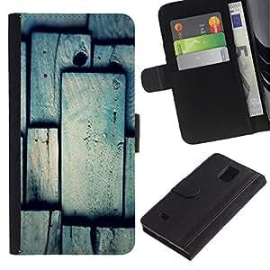 Paccase / Billetera de Cuero Caso del tirón Titular de la tarjeta Carcasa Funda para - Tile Pattern Grey Gray Polygon - Samsung Galaxy Note 4 SM-N910