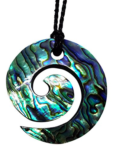 Hawaiian Jewelry Large Paua Shell Koru Pendant Necklace on Black Adjustable Cord, 32 (Hawaiian Shell Jewelry)