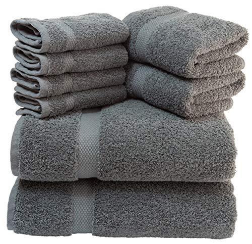 White Classic Luxury Grey Bath Towel Set - Combed Cotton Hotel Quality Absorbent 8 Piece Towels | 2 Bath Towels | 2 Hand Towels | 4 Washcloths [Worth $72.95] Grey | 8 Pack