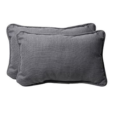 "Pillow Perfect Decorative Textured Rectangle Solid Toss Pillows 18-1/2""L x 11-1/2""W x 5"" D Gray - Includes two (2) outdoor pillows, resists weather and fading in sunlight; Suitable for indoor and outdoor use Plush Fill - 100-percent polyester fiber filling Edges of outdoor pillows are trimmed with matching fabric and cord to sit perfectly on your outdoor patio furniture - living-room-soft-furnishings, living-room, decorative-pillows - 51Me1jGTlvL. SS400  -"