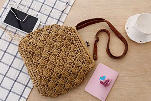 Flada Beige LightBrown Vintage Straw Shell Closed With Crochet Buckle Bags Shoulder Woven Brass xqSpxw4