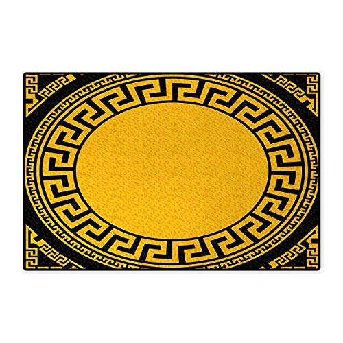Versace By Inspired (Greek Key,Bath Mat,Sun Inspired Big Circle with Antique Fret and Triangular Ornaments,Door Mat Indoors Bathroom Mats Non Slip,Charcoal Grey Marigold 24