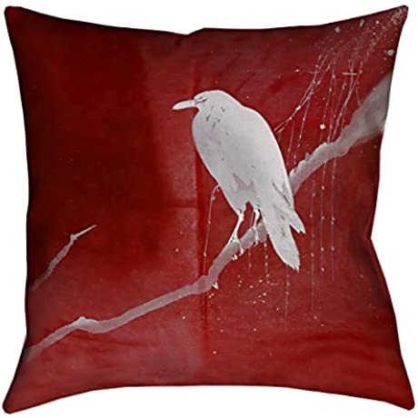 ArtVerse Katelyn Smith White Crow And Willow X 36 Floor Pillows Double Sided Print With Concealed Zipper Insert