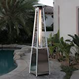 Belleze 42,000BTU Propane Patio Heater Pyramid w/Dancing Flame (CSA certified) - Stainless Steel