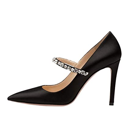 1638a329f41eb Amazon.com: FCXBQ Rhinestone Pumps, Stiletto Pointed Ankle Strap ...