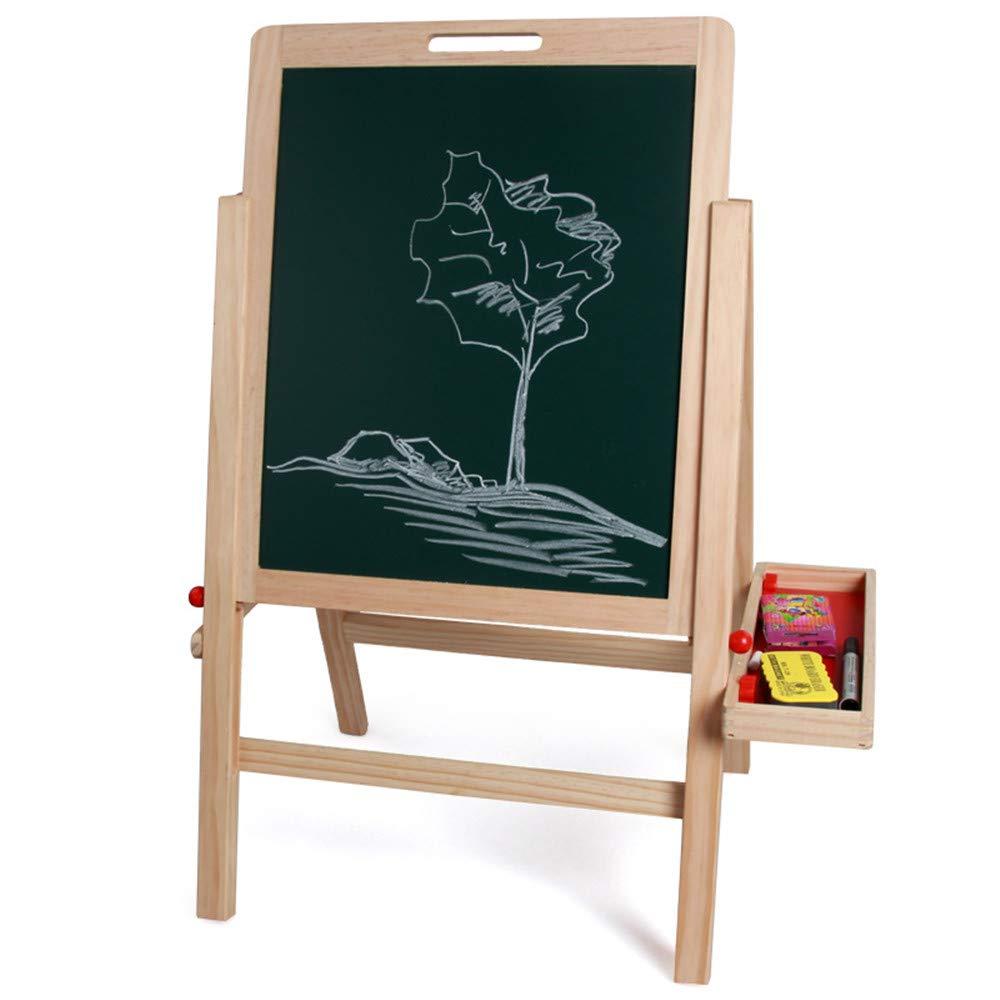 Hnks Staffelei für Kinder Grünikale Kunst der Kinder doppelseitige Staffelei Dry Erase Board schwarzboard Aufbewahrungsbox Lernspielzeug für kognitive Spiele