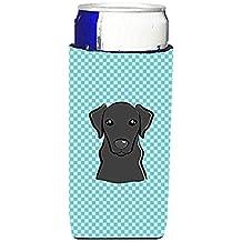 Checkerboard Blue Black Labrador Ultra Beverage Insulators for slim cans BB1173MUK