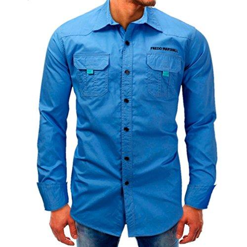 Longra Men Long-Sleeve Beefy Button Basic Solid Blouse Tee Shirt Top Mens Smart Tops Mens Dress Shirts (Blue, 2XL)