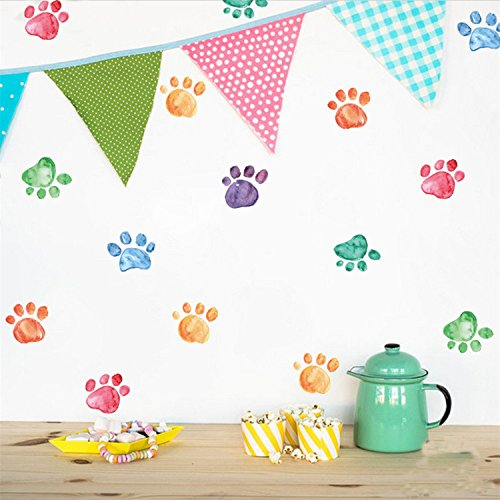 Kids Creative Wallpaper (VanBest Colorful Paw Prints DIY Wall Sticker Removable Vinyl Decals Home Kid's Room Creative Wallpaper Mural Art Decorations)