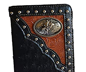 western black bull rider concho studs slim men checkbook wallet