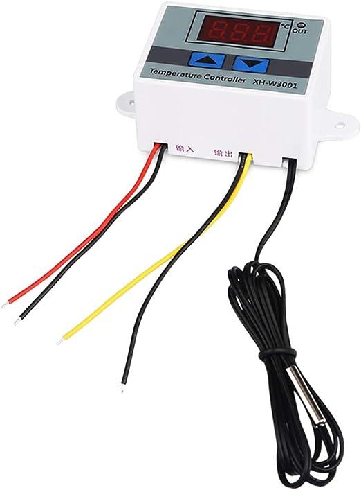 chauffage refroidissement par incubateur Contr/ôleur de temp/érature capteur interrupteur sonde NTC Digital LED XH-W3001 thermostat