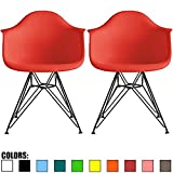 2xhome Set of 2 Red Mid Century Modern Vintage Designer Molded Shell Plastic Armchair with Arms Silver Wire Metal Base Eiffel Dining Chairs Living Room Accent Dowel Office Guest Work Desk DAR