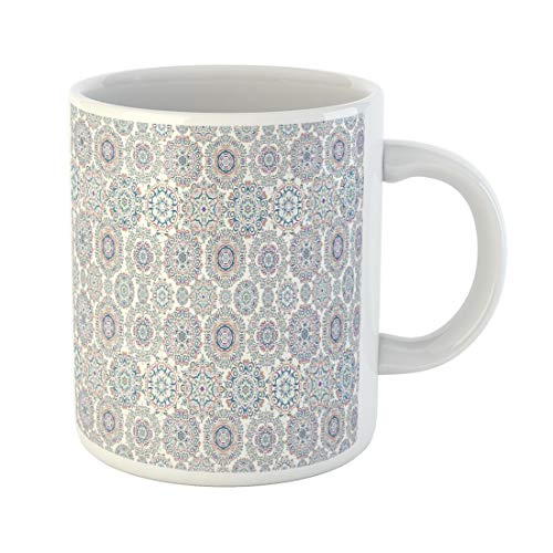 Semtomn Funny Coffee Mug Symbol of Winter Watercolor Snowflakes on Violet Neutral 11 Oz Ceramic Coffee Mugs Tea Cup Best Gift Or Souvenir