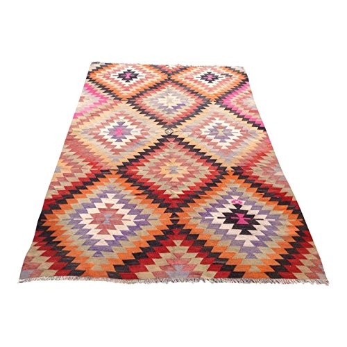 Diamond handwoven Turkish Kilim rug