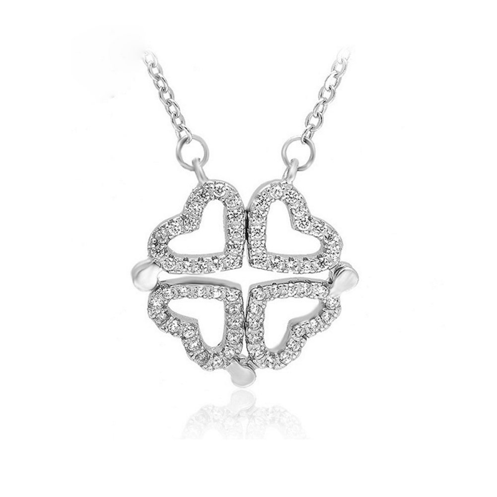 Helen de Lete Four Hearts into One Clover 925 Sterling Silver Collar Necklace