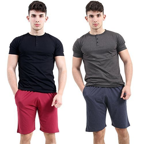 hombre PACK 2 Jersey Liso Pantalones cortos para hombre MULTIPACK Pijama Pantalones cortos Pantalones Pijama M L