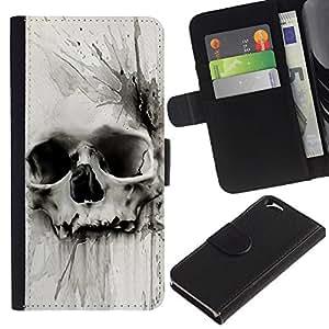 Muerte Acuarela Dibujo metal- la tarjeta de Crédito Slots PU Funda de cuero Monedero caso cubierta de piel Para Apple (4.7 inches!!!) iPhone 6 / 6S