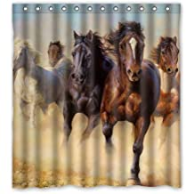 "Horse Pattern Polyester Fabric Shower Curtain Water Resistant Shower Curtains Shower Rings Included 66"" x 72"""