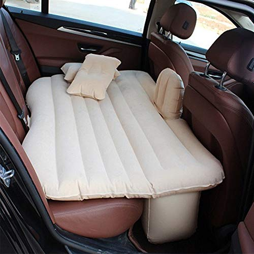 Beige Car Self-Drive Air Bed Sleeping Seat Inflatable Back Seat Mattress + Pillow/Pump from Garden at Home