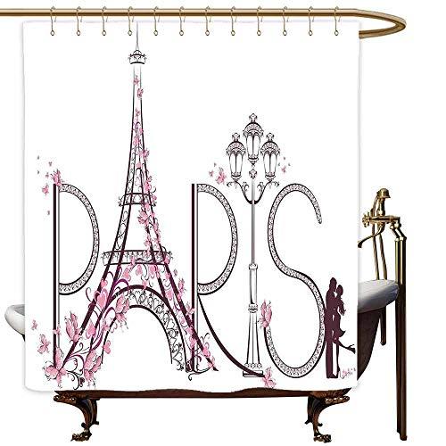 MaryMunger Kids Bathroom Shower Curtain Paris City Decor Tower Eiffel with Paris Lettering Illustration Couple Trip Flowers Floral Artful Design Polyester Fabric Waterproof W48x72L -