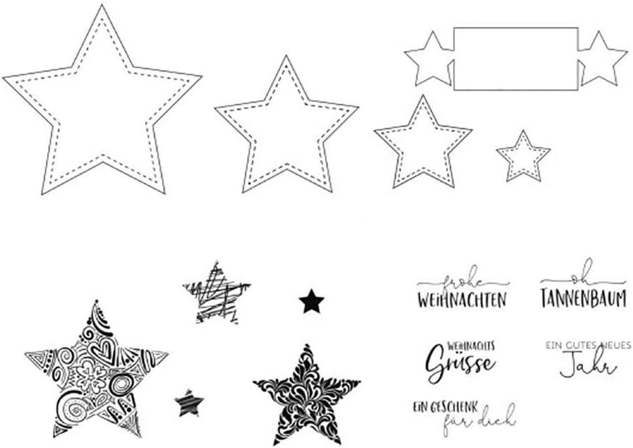 Kartenherstellung und andere Papierprojekte Vaessen Creative Stanz Stempelset Durchscheinend 21 x 23 cm Erstellen Sie Sch/öne Entw/ürfe f/ür Scrapbooking Sterne