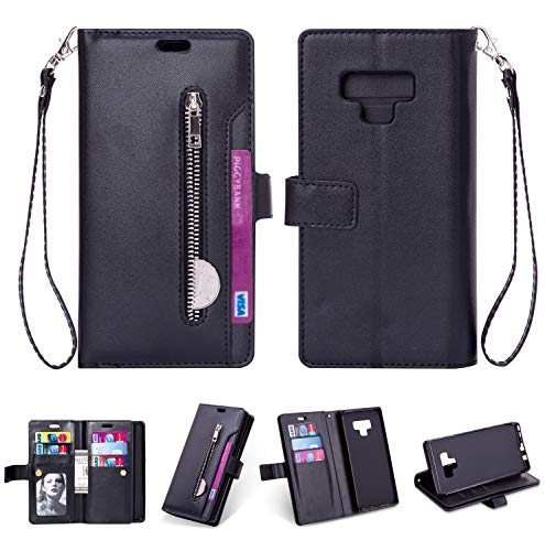 Samsung Note 9 Case,Galaxy Note 9 Wallet Case,FLYEE 10 Card Slots Premium Flip Wallet Leather Magnetic Case Purse with Zipper Coin Credit Card Holder Cover for Samsung Galaxy Note 9 Black