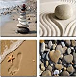 Wieco Art Giclee Canvas Prints Wall Art Romantic Beach Theme Zen Stone Pictures Paintings for Living Room Kitchen Home Decor Large Modern 4 Panels Stretched and Framed Seascape Sea Beach Artwork L