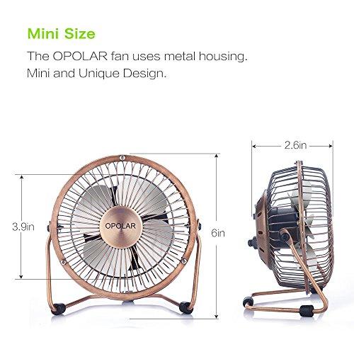 OPOLAR Mini USB Table Desktop Personal Fan (Metal Design, Quiet Operation; 3.9 feet USB Cable, High Compatibility - Bronze) by OPOLAR (Image #1)