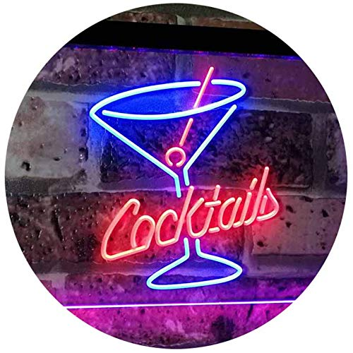 ADVPRO Cocktails Glass Bar Club Beer Décor Dual Color LED Neon Sign Blue & Red 12