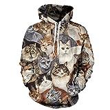 SAYM Unisex Simulation Printing Galaxy Pocket Hooded Sweatshirt Cat XL