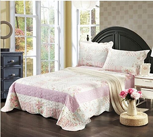 Tache 3 Piece Pink Wildflower Picnic Reversible Bedspread Qu