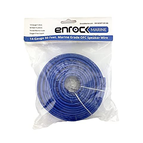 Enrock 50 Feet 14 AWG Gauge Marine Grade Speaker Wire Cable Corrosion Resistant Jacket (Bar Speakers For Tv Boss)