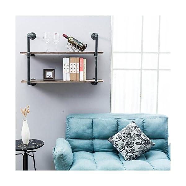 Industrial Pipe Shelves with Wood 2-Tiers,Rustic Wall Mount Shelf 36.2in,Metal Hung Bracket Bookshelf,DIY Storage Shelving Floating Shelves 5