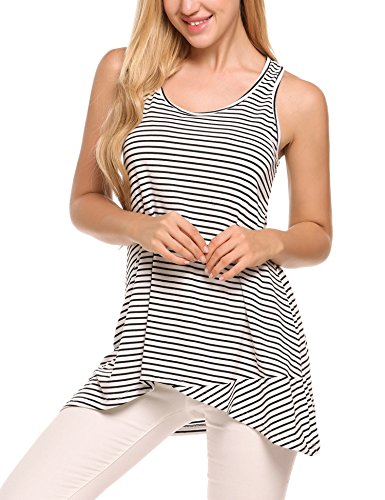 Zeagoo Women Striped Crossover Tank Tops Loose Hi Low Sleeveless Tunics Summer Shirts (White/L)